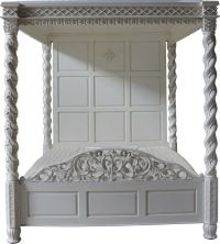 Four Poster Canopy Floral Bed with Highlights